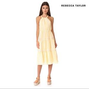 REBECCA TAYLOR YARN DYE STRIPE MIDI DRESS